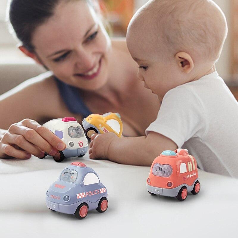 4 unids/set LUZ DE SONIDO coches de dibujos animados de juguete lindo Taxi policía fricción coche de juguete para bebé para chico regalo educativo niño más de 1 año
