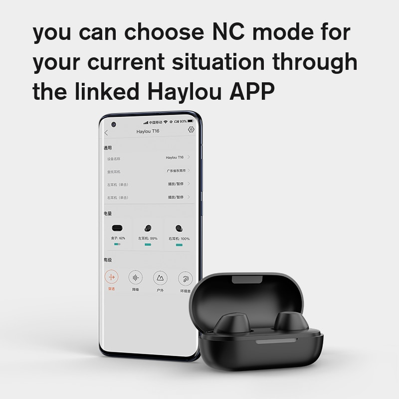 Haylou T16  ANC Bluetooth Earphones 4 Mic HD Call Hybrid -35dB Active Noise Canceling Wireless Charging CCAW Voice Coil Headset enlarge