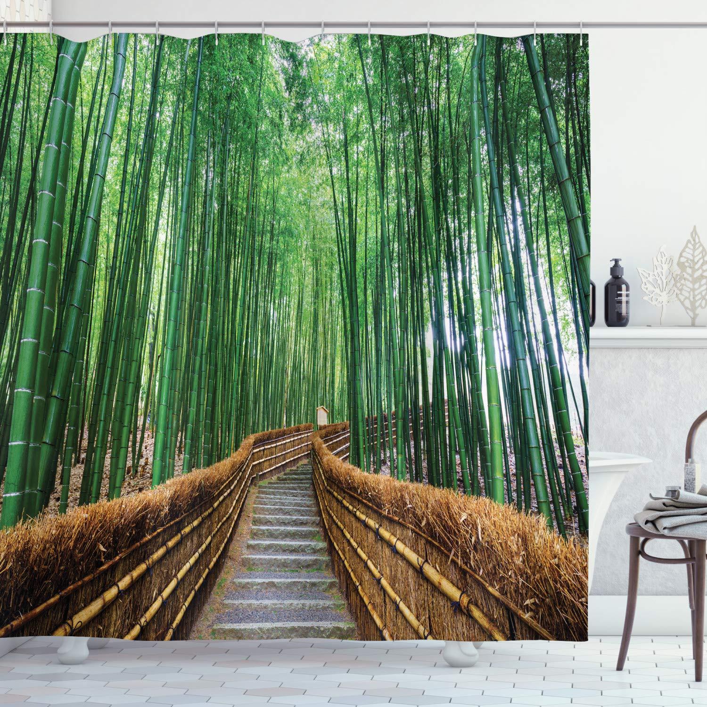 Cortina de ducha de jungla, puente natural Tropical sobre árbol de bambú, paisaje exótico, Spa, Yoga, diseño tejido poliéster, decoración para Baño