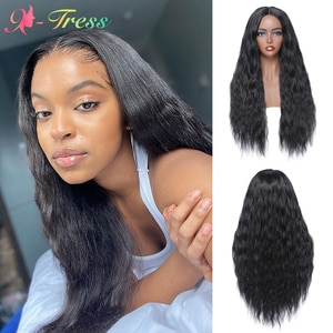 X-TRESS Long Black Deep Wavy Synthetic Wigs Ombre Color Middle Part Small Area Lace Front Wig For Women Daily Cosplay Wigs