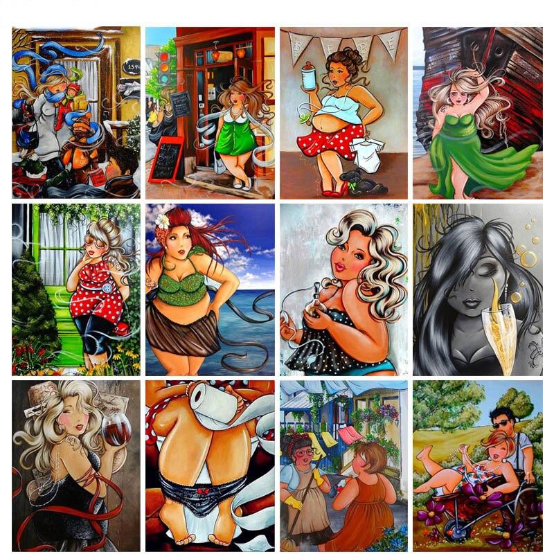 Fat lady 3d mosaico de dibujos animados mujer 5d taladro redondo cuadrado completo DIY diamante pintura Rhinestone de imágenes bordado N670