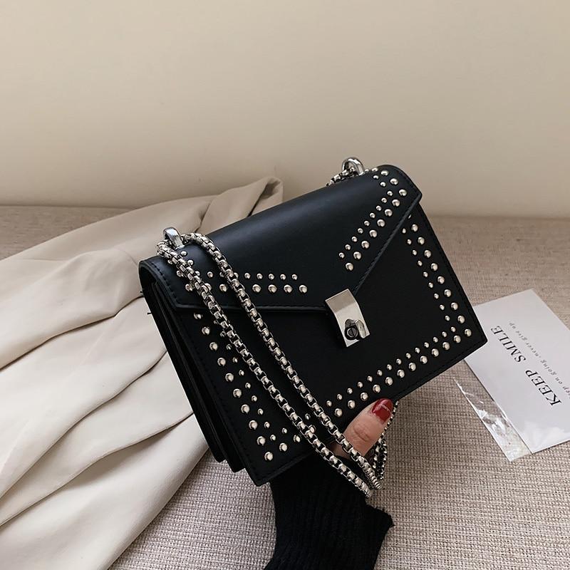 2020 nova feminina couro bolsa de ombro cadeias bolsa feminina marca de luxo pequenos sacos aleta para meninas saco do mensageiro feminino saco rebite