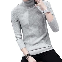 men sliming fit thicken warm turtleneck solid color long sleeve knitted sweater top men clothing sweater top