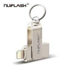 Металлический USB флеш-накопитель 128 ГБ, OTG, флеш-накопитель 32 ГБ, 64 ГБ, Usb 2,0, флэш-диск для iPhone X/8 Plus/8/7 Plus, USB-карта памяти