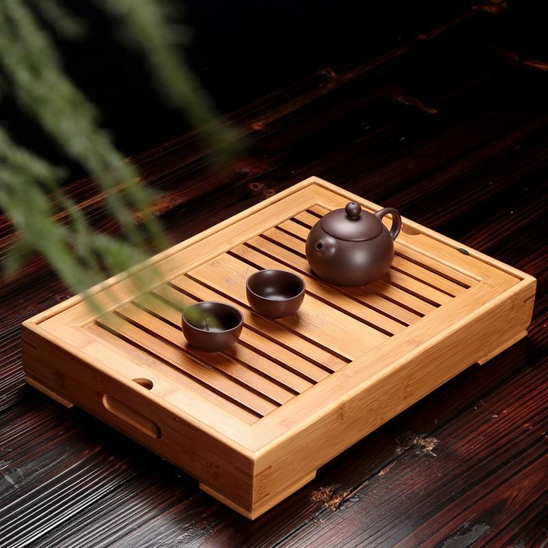 الخيزران صينية الشاي s الكونغ فو الشاي الاكسسوارات صينية الشاي الجدول مع استنزاف رف الشاي الصيني تخدم مجموعة صينية شحن مجاني