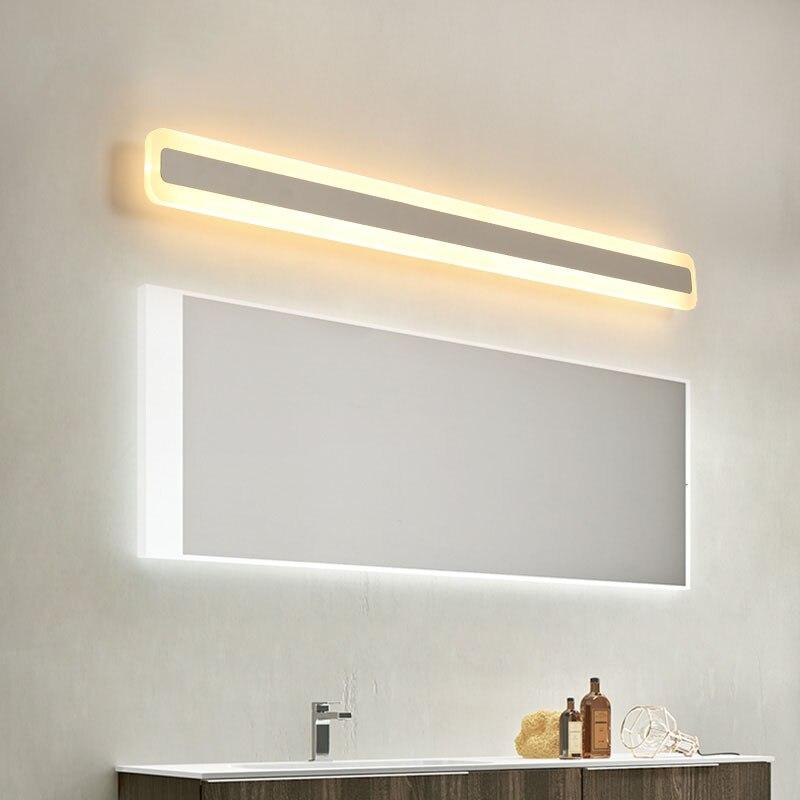 Aplique de luz para espejo de baño con LED simple moderno NEO Gleam 16 W/24 W/32 W/40 W/48 W 40/60/80/100/120CM con brillo a prueba de agua