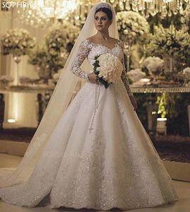 New Arrival Lace Appliques Pearls Wedding Dress 2021 Illusion Vestido de Noiva Long Sleeves Chapel Train Robe de Mariee платье