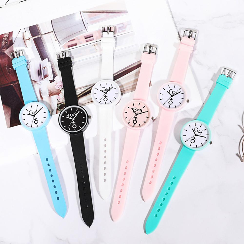 Fashion Boy Girl Round Dial Silicone Band No Number Analog Quartz Jelly Watch lovers woman men's wat