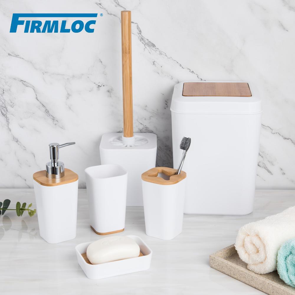 Firmloc, Set de accesorios de plástico para el baño, caja dispensadora de pasta dental con soporte para cepillo de dientes, caja de jabón, almacenamiento de ducha y baño, 6 piezas