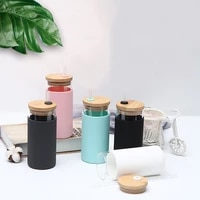 simple bamboo wood cover straw cup office cute water cup anti scalding silicone sleeve single layer glass coffee cup