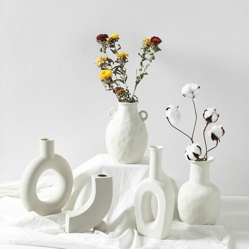 Керамические и фарфоровые вазы в китайском стиле для искусственных цветов, декоративные статуэтки, современные белые керамические вазы