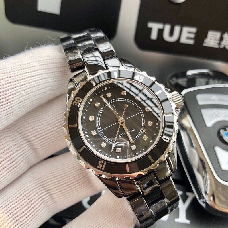 Ceramic J12  Watch Classic Automatic Movement Mechanical Luxury Ceramica Mens Womens Wrist Watches Diamonds Number Dial Clock enlarge
