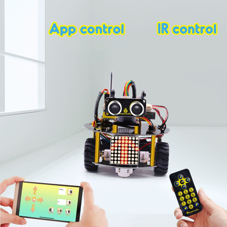 NEW UPDATE! Keyestudio Smart Little Turtle Robot Car V3.0 for Arduino Robot STEM/Support APP Control