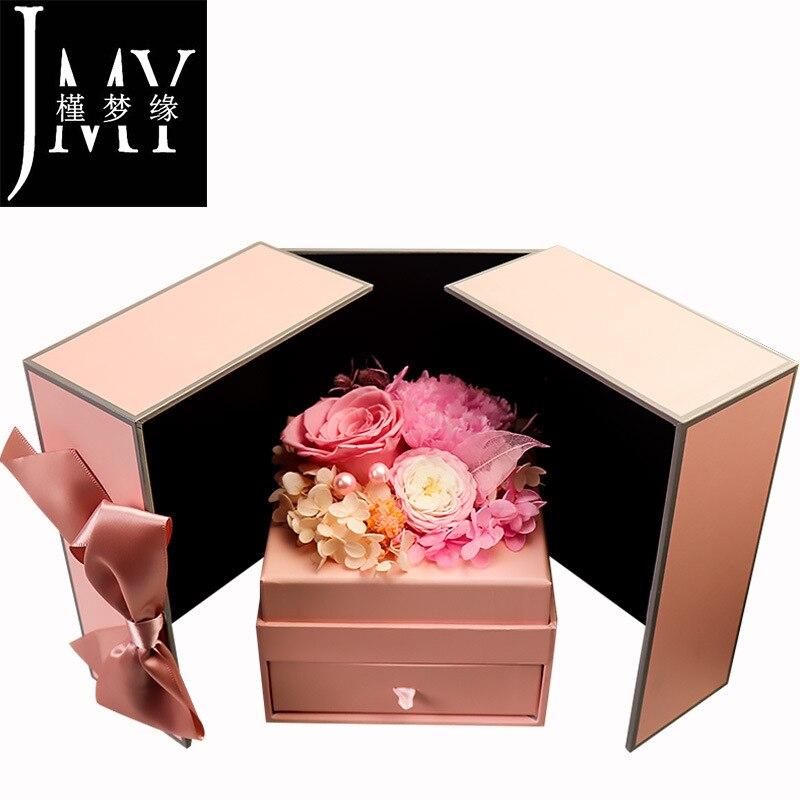 Everlasting Flower Gift Box Wholesale Rose Carnation Austin Gift Box Valentine's Day Gift for Girlfriend Girlfriend Manufacturer