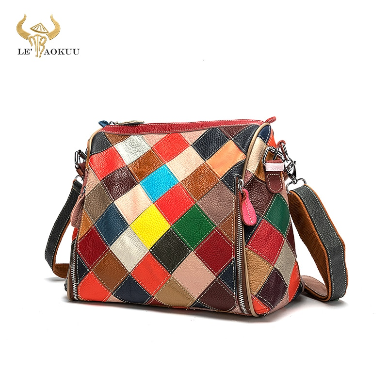 Colorful Soft Quality Leather Luxury Ladies Patchwork Fashion Large Shopper Handbag Over Shoulder ba