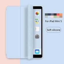 Etui en silicone souple Tablet pour iPad Mini 5 2019 version A2133 A2124 A2125 A2126 Funda stand Smart Cover 7,9 pouces Auto Wake / sommeil