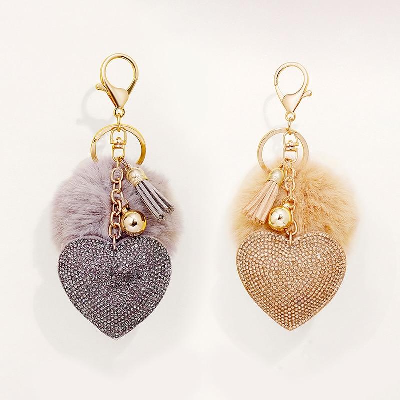Pompom Keychains Rhinestone Heart  Women's Bags Key Ring Keyrings  Pendants room Suspension Decorati
