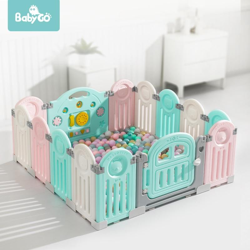 BabyGo طوي سلامة الطفل روضة أطفال داخلي في الهواء الطلق مركز النشاط طفل الزحف اللعب ساحة الطفل سياج (قطعة واحدة)