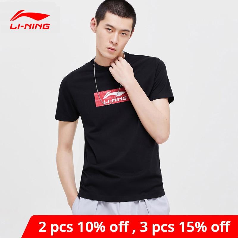 Li-ning hombres la tendencia Jersey 66% algodón 34% poliéster transpirable Regular Fit forro Li Ning deportes camisetas AHSP023 MTS3040