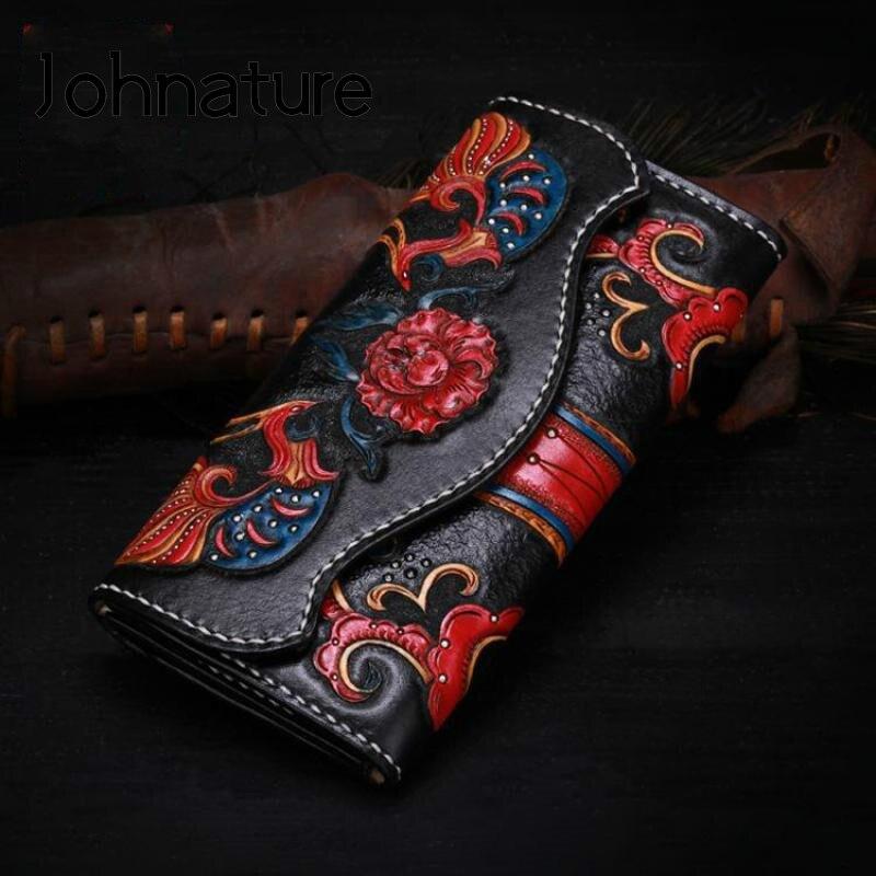 Женский кошелек с отделением для карт Johnature, роскошный бумажник из воловьей кожи с цветочным узором ручной работы, 2021