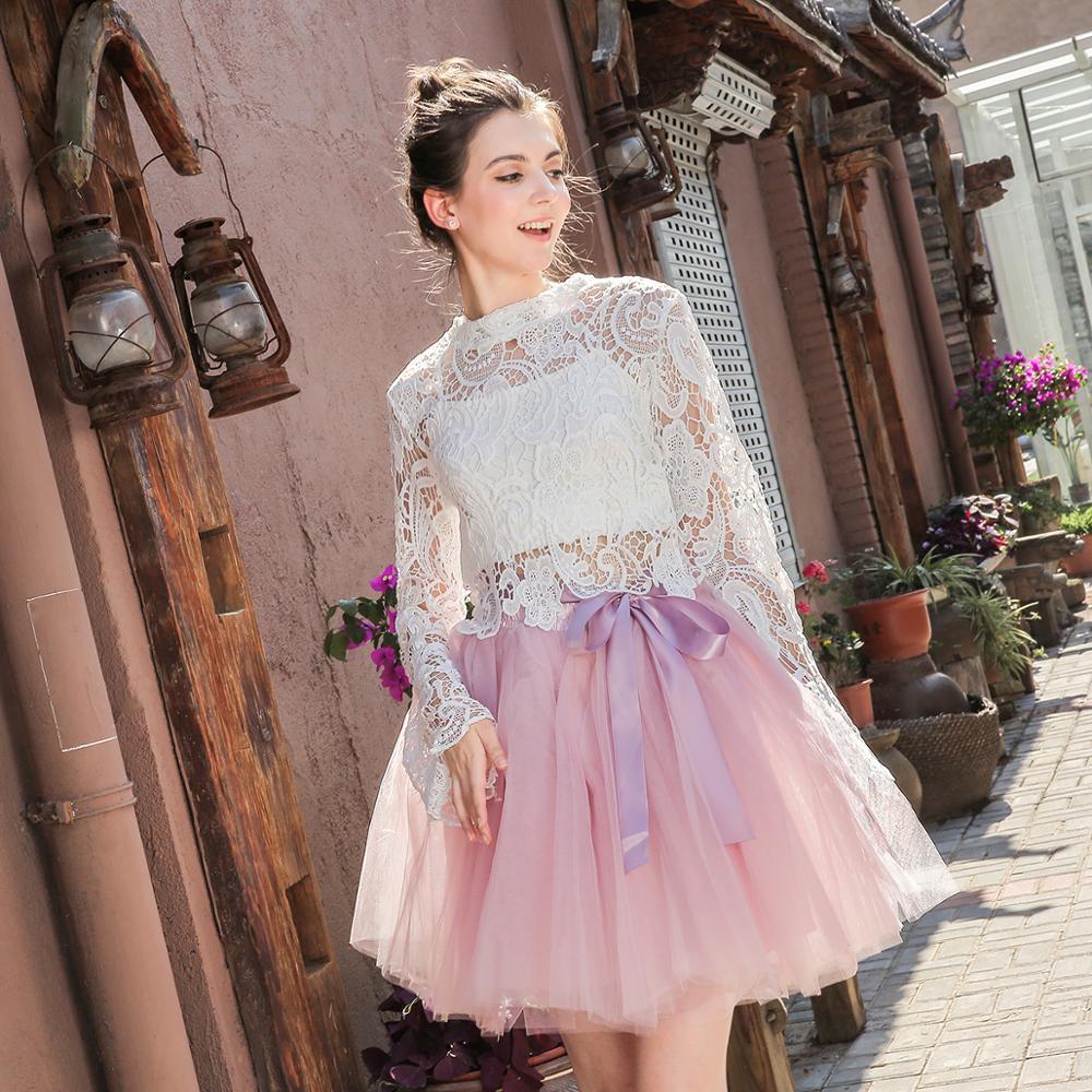 Falda de tul princesa de cintura alta para mujer enagua de danza para adultos tutú de fiesta de boda de 7 capas Midi Lolita Faldas Saia