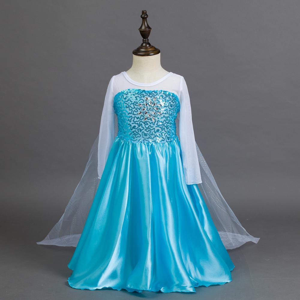 Disfraz de princesa Elsa Anna de fantasía de manga larga con lentejuelas brillantes para Cosplay de 4, 6, 8, 10 y 12 años