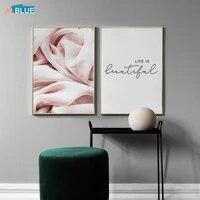 Affiche en toile de soie abstraite a la mode  peinture decorative murale avec citations de vie  decoration nordique minimaliste pour la maison