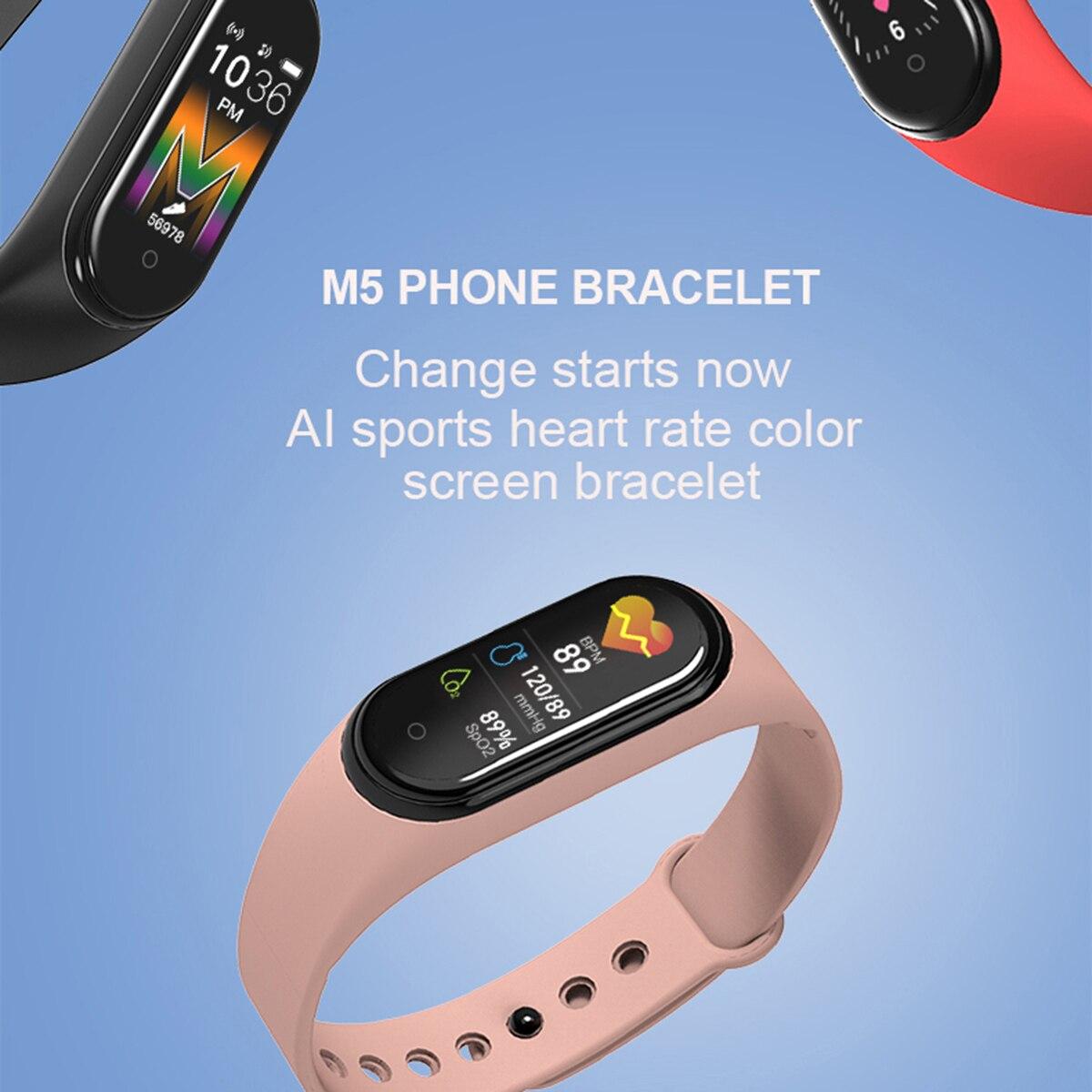 Смарт-часы 2021 M5, спортивный фитнес-трекер, умный Браслет, спортивный шагомер, монитор пульса и артериального давления, Bluetooth-браслет
