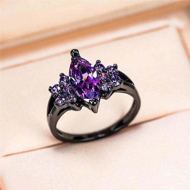 Anel de noivado do amor da promessa do anel de noivado do ouro preto do vintage do anel de pedra roxo pequeno feminino elegante