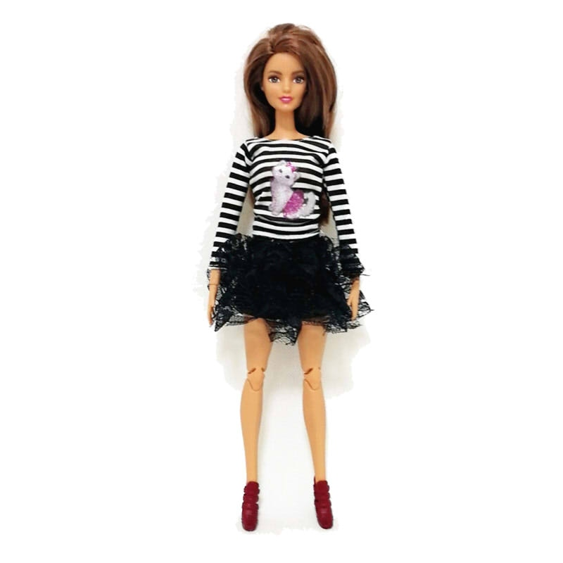 princess dress outfits doll clothes for barbie accessories play house dressing up costume kids toys gift Stripes Tops Black Lace Skirt Outfits Set for Barbie  BJD Doll Clothes Accessories Play House Dressing Up  Kids Toys