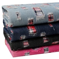 jeans fabric with broken holes for sewing pants jackets blazer denim fabrics per meters diy textiles garment materials telas