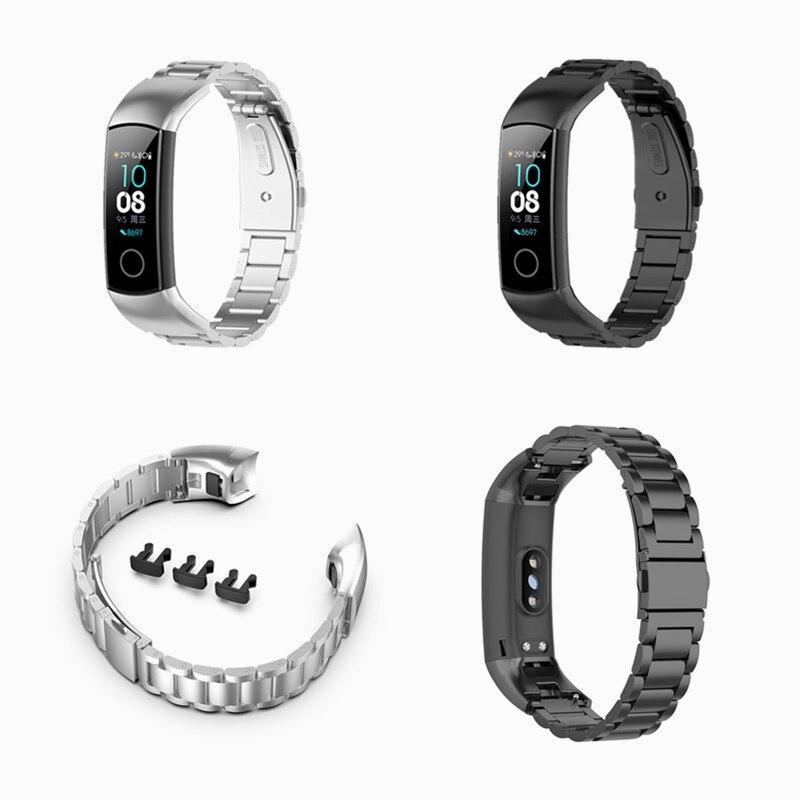Yeni lüks erkek çelik Watch Band bilek kayışı değiştirilebilir Metal akıllı bilezik akıllı saat bandı akıllı bilezik aksesuar huawei onur Band 5 / 4