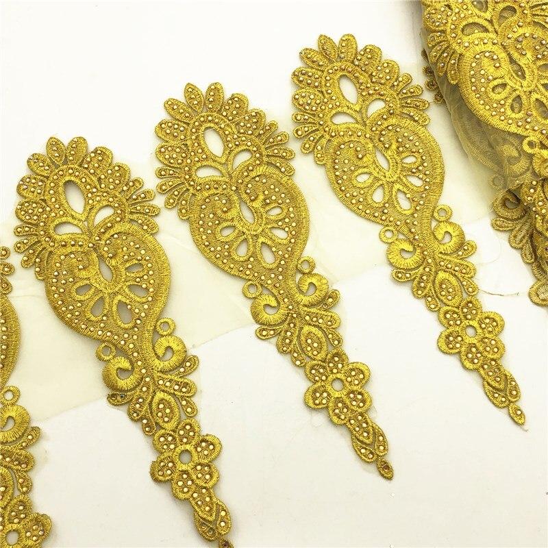 5yards  Gold Rhinestone  Metallic Embroidered Motif Lace Nigeria Venice Trim Crochet Cord Wide 23CM