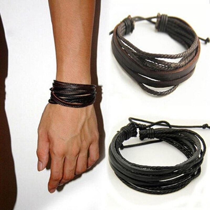 Pulsera de piel multicapas tejida a mano para hombre, pulsera de cuero para hombre, cuerda trenzada a la moda, pulseras, brazaletes, regalo para hombre