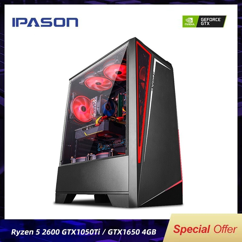 IPASON Battlefield S5 Gaming Computer R5 2600 8G 256G 1050TI/1650/1660S Desktop Assembly Machine Com