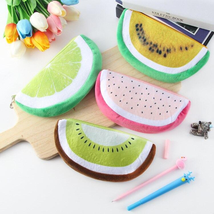 Colorido de pelúcia frutas lápis caso papelaria saco melancia morango abacaxi pencial sacos estudante presente escola material de escritório