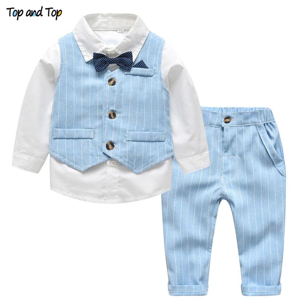 Partes de arriba de primavera y otoño traje de caballero camisa blanca con pajarita + chaleco a rayas + Pantalones 3 uds conjunto de ropa Formal para niños