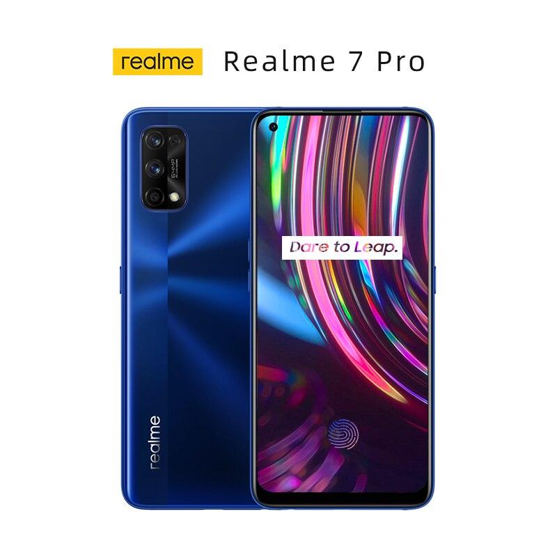 Перейти на Алиэкспресс и купить Подлинный новый Realme 7 Pro глобальная версия смартфона 8 ГБ 128 65 Вт SuperDart заряда 64-мегапиксельная четырехъядерная камера активно-матричные осид,...