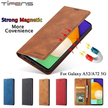 Luxury Leather Case For Samsung A52 Flip Wallet Coque For Galaxy A72 A52 5G Cover Cards Strong Magne