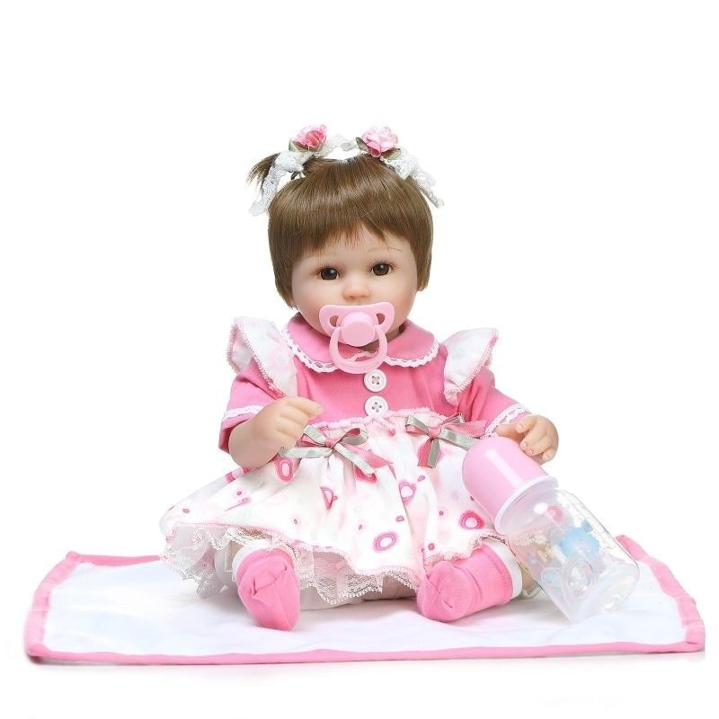 16 Inch Realistic Doll Reborn Lifelike Girl Reborn Babies Soft Silicone Dolls Xmas Birthday Gift education Toys For Kid Children new style soft baby doll gift 22 inch silicone baby dolls realistic doll reborn gift for children play house toys with dress