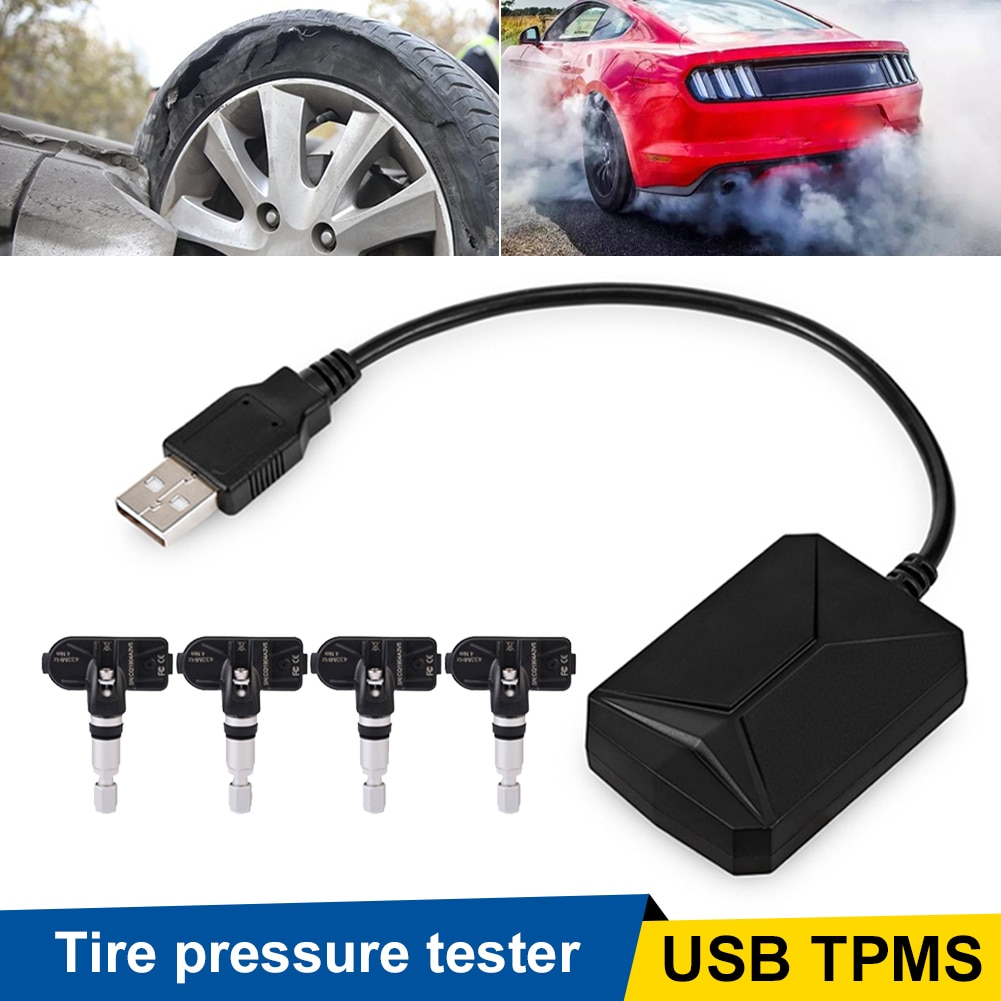 Tire Pressure Monitoring System USB TPMS Temperatue Monitor with External/Internal Sensors for Android Car Stereo