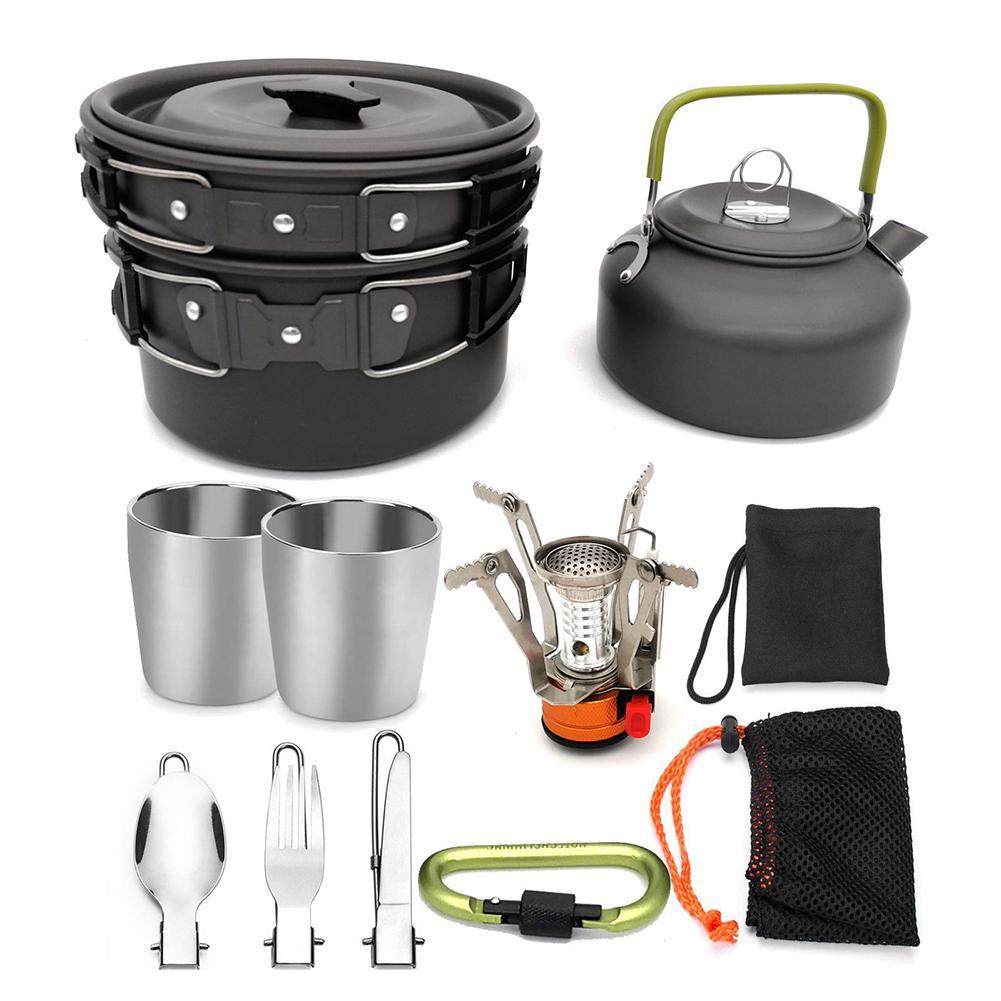 Portátil cozinha ao ar livre pote de cozinha acampamento caminhadas piquenique bule conjunto kit cozinha cozinha kit cozinha mosquetão acampamento panelas fogão