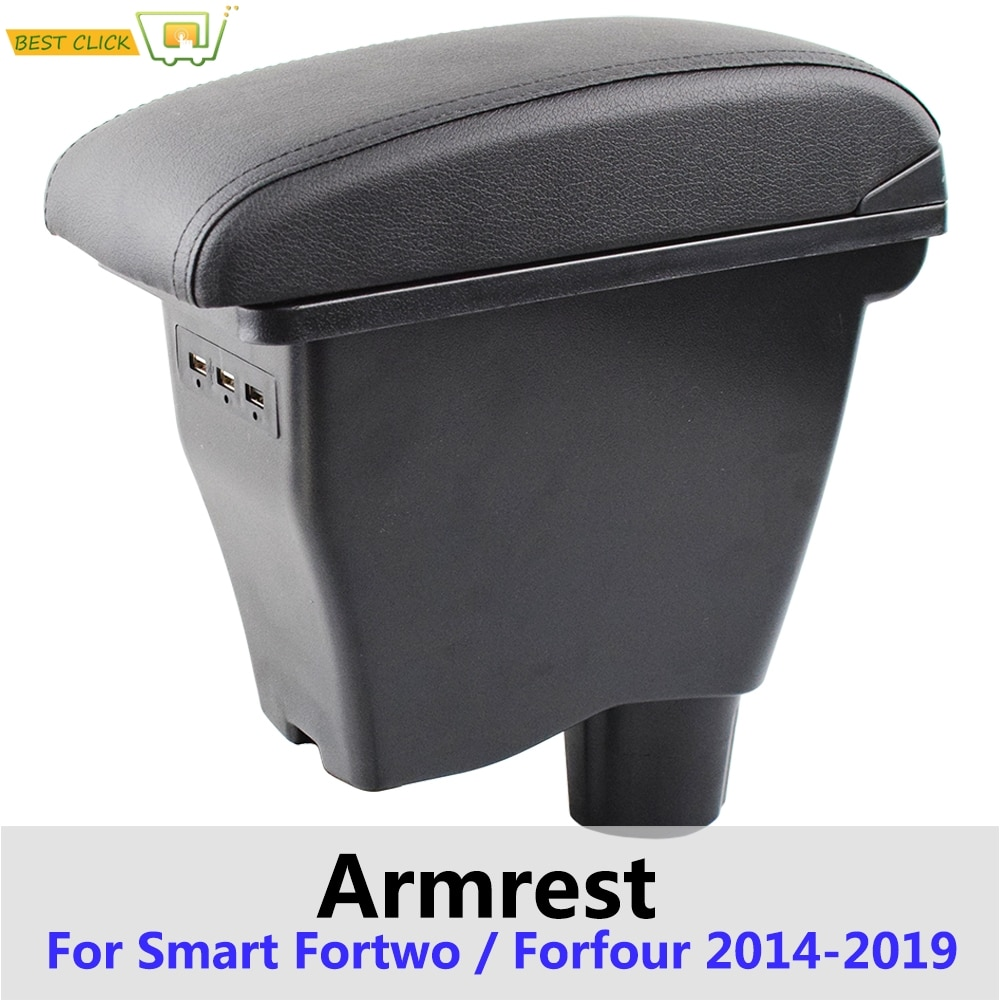 Reposabrazos de cuero para Smart Fortwo 2014 - 2019 caja de interfaz USB para almacenamiento de coche Modificación de reposabrazos para Four 2017