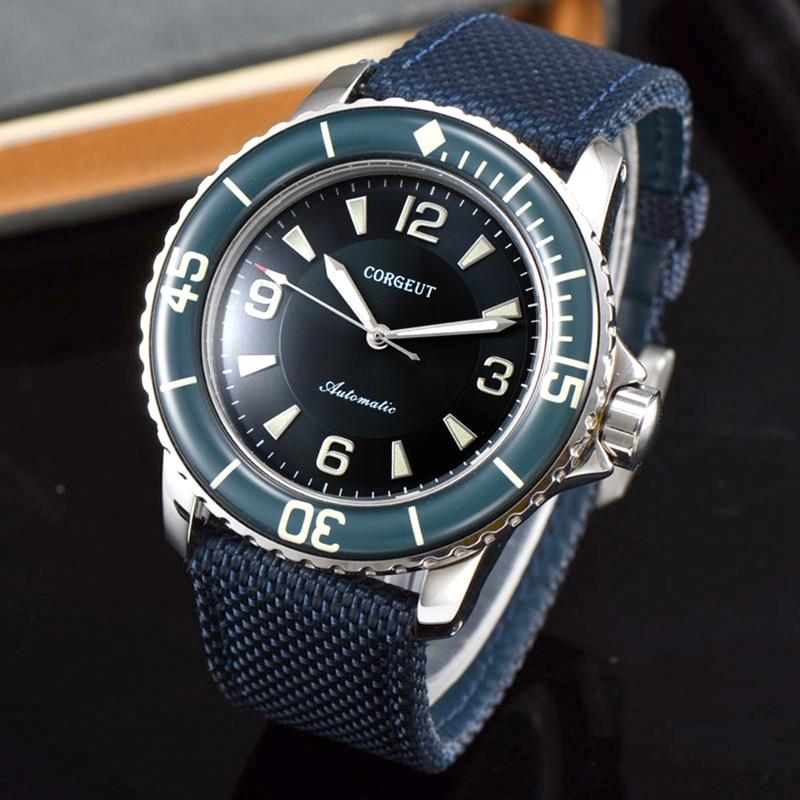 CORGEUT, reloj deportivo de lujo de la mejor marca para hombre, mecánico luminoso, automático, de viento, Vintage, 45 MM, azul y negro