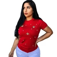 plus size short sleeve pearl beading t shirt women tee cute bee tops ladies summer casual round neck black red basic t shirt