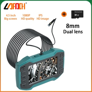 """Industrial Endoscope 8mm Dual lens 4.5"""" LCD Screen IP67 Waterproof inspection Camera mechanical inspection borescope with TFcard"""
