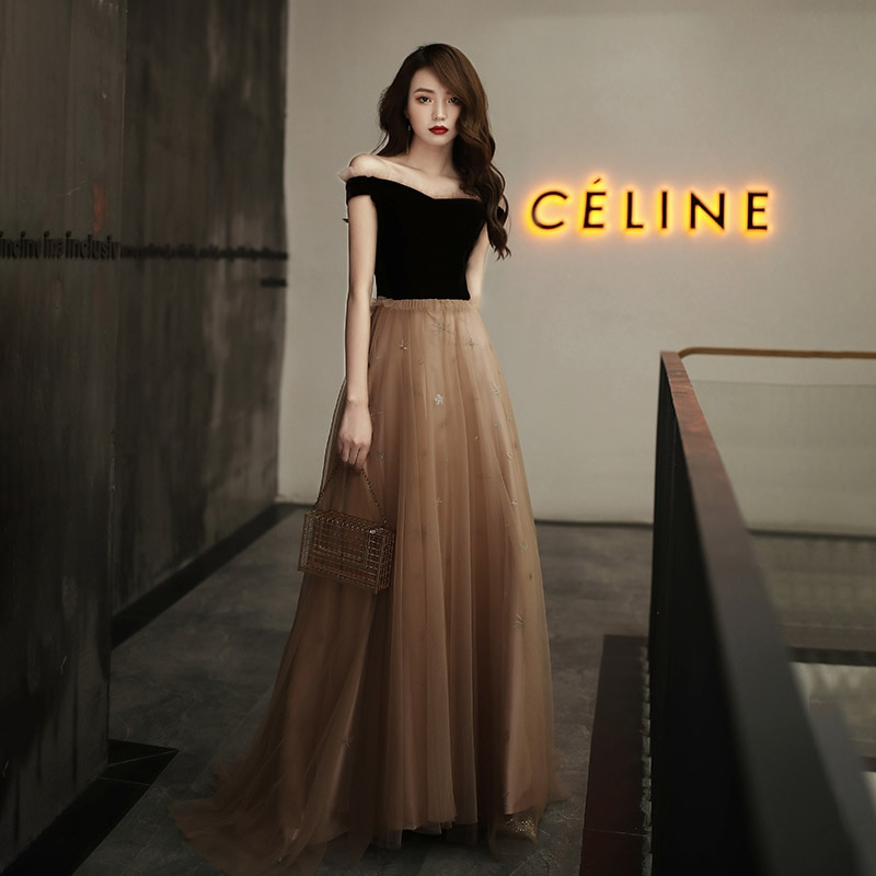 Evenging Dresses Coffee Velour Stitching Ruffles A-line Floor-length Plus size Customized Off the Sh