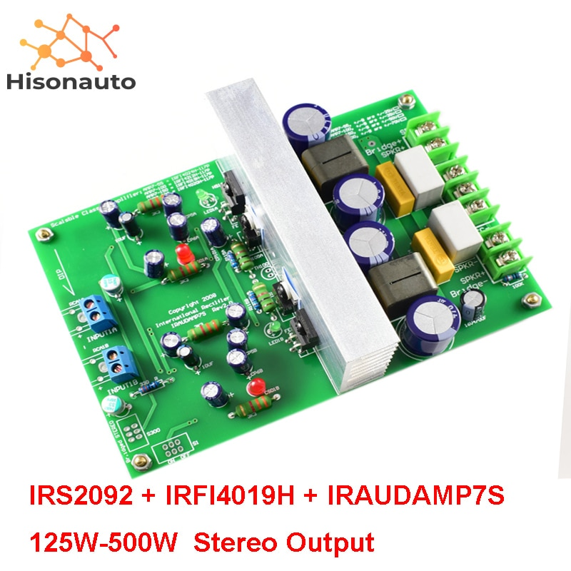 IRS2092 IRFI4019H IRAUDAMP7S 125W-500W módulo amplificador clase D de 2 canales tablero terminado Stereo L15DX2