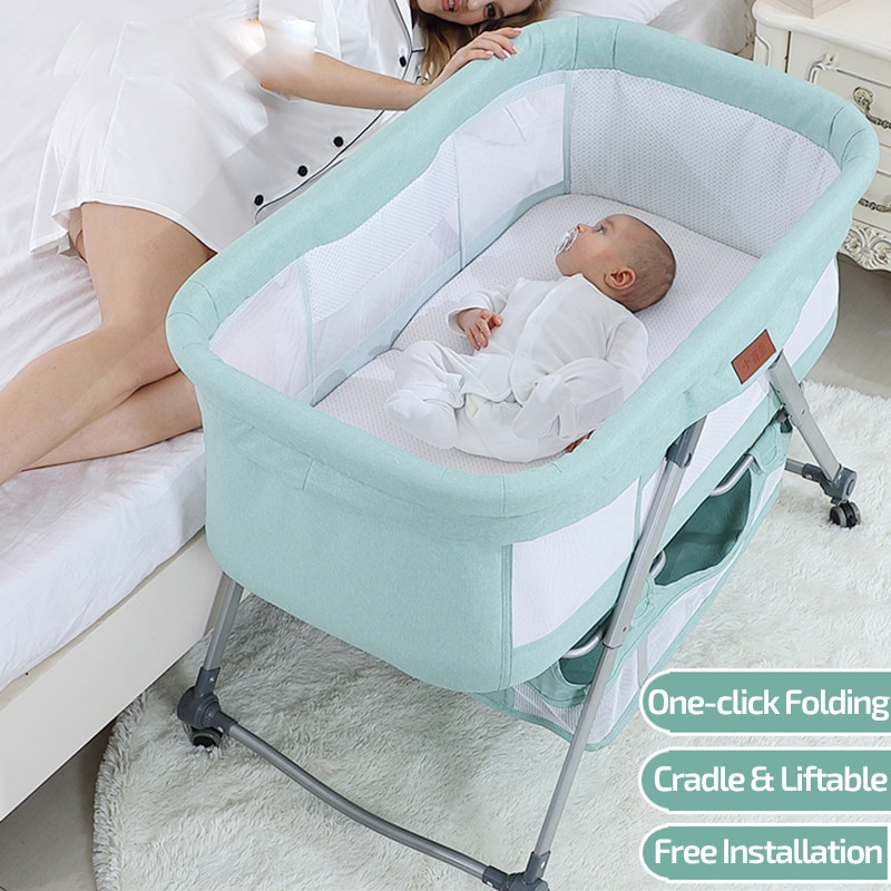 2021 Cradle Crib Newborn Baby Infant Bed Baby Sleeper Bedside Bassinet Portable Crib Mobile Foldable with Mosquito Net