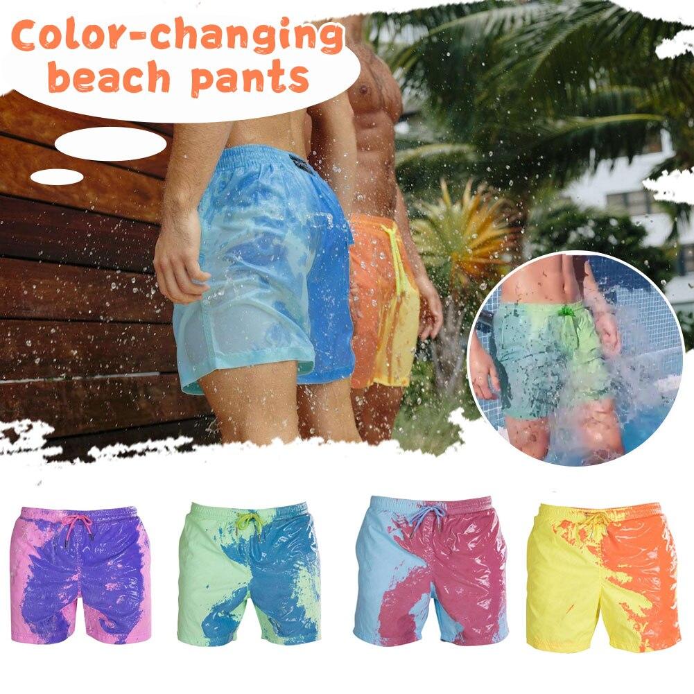2021 пляжные шорты, меняющие цвет, быстросохнущие мужские купальники, пляжные брюки, теплые цветные пляжные шорты для плавания и серфинга orlebar brown пляжные брюки и шорты